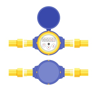 Analog water meter vector illustration in flat style. sanitary equipment