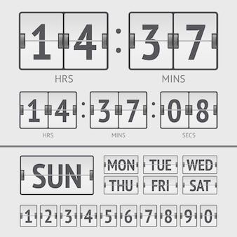 Analog white scoreboard digital week timer. vector illustration