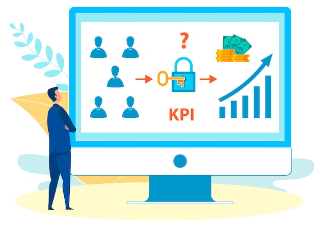 Analysing kpi rates on laptop vector illustration
