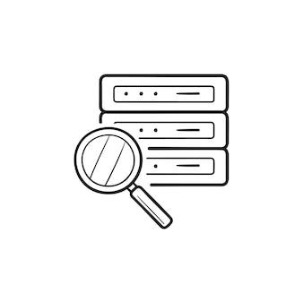 拡大鏡の手描きのアウトライン落書きアイコンでサーバーを分析しています。ネットワーク監視、サーバー監視の概念