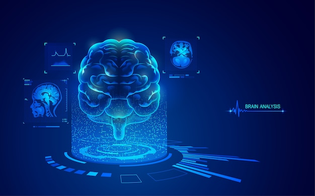Analysis of brain with medical health care technology element, graphic of mri scan interface