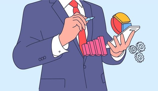 Анализ, концепция бизнес-плана. планирование менеджера клерка бизнесменов и мозговой штурм. плоский