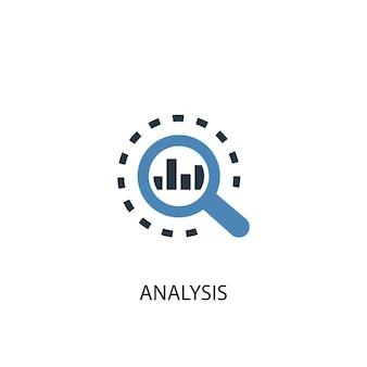 Концепция анализа 2 цветных значка. простой синий элемент иллюстрации. анализ концепции символ дизайна. может использоваться для веб- и мобильных ui / ux