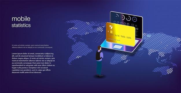 Analysis data and investment. analytics data on isometric laptop. online statistics and data analytics.  digital money market, investment, finance and trading.