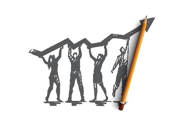 分析、グラフ、線、検索、成長の概念。手描きチームは、分析研究のコンセプトスケッチを作成します。