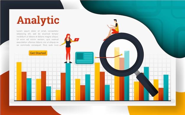 財務およびビジネス用の分析ランディングページ