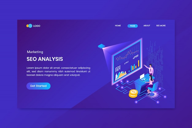 Analysis marketing isometric concept landing page
