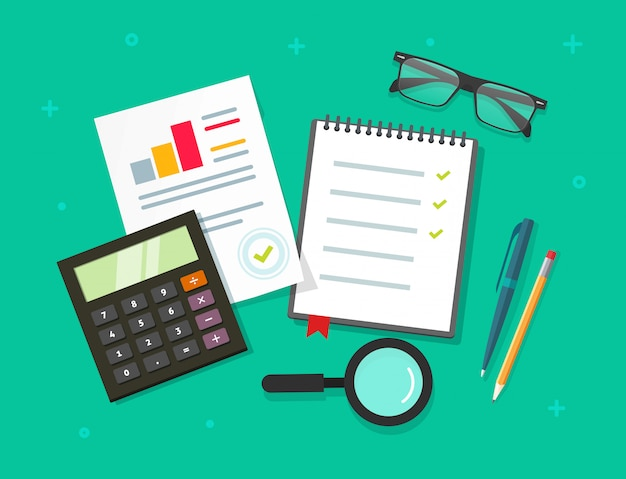 Analysis planning data report on table top view or financial research audit evaluation process vector flat cartoon style