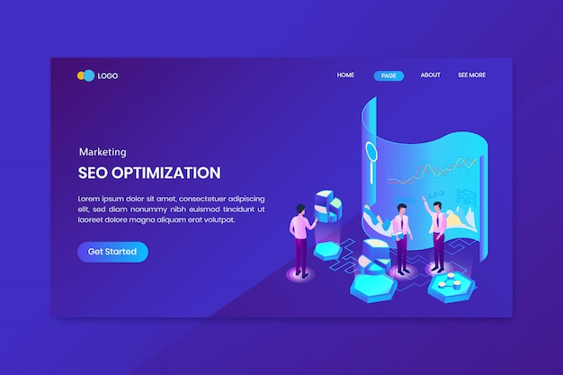 Analysis seo marketing isometric concept landing page