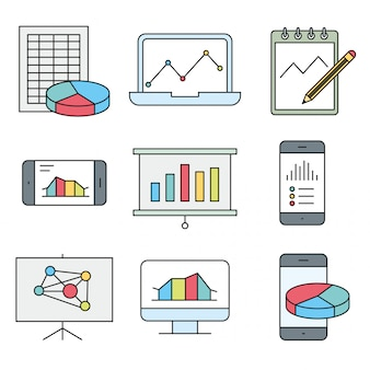Analysis, statistics, chart, report and service icons