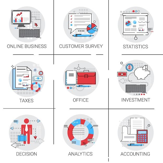 Analysis statistics finance diagram office work icon set