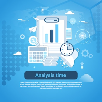 Analysis time template web banner with copy space