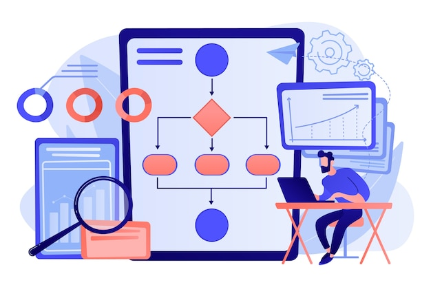自動化プロセスでラップトップで作業しているアナリスト。ビジネスプロセスの自動化、ビジネスプロセスのワークフロー、自動化されたビジネスシステムの概念図