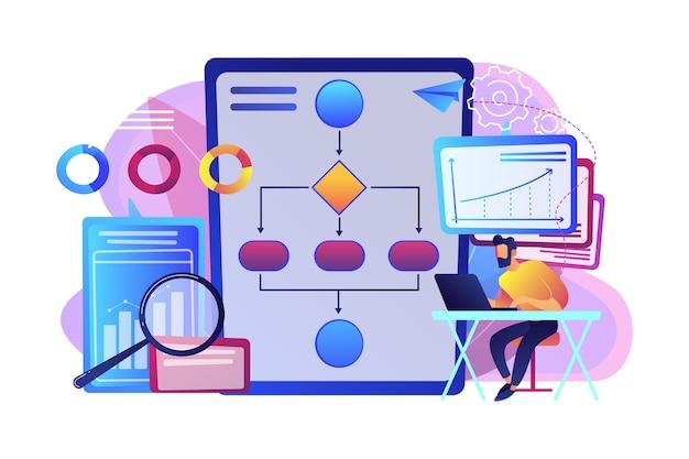 Аналитик, работающий на ноутбуке с процессом автоматизации. автоматизация бизнес-процессов, документооборот бизнес-процессов, концепция автоматизированной бизнес-системы.