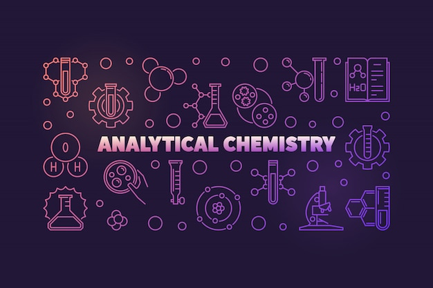 Analytical chemistry colored  outline illustration