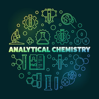 Analytical chemistry colorful round outline icon illustration
