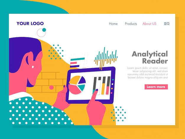 Analytical reader illustration for landing page
