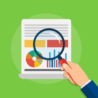 グラフとチャートを使用した分析とデータ分析。虫眼鏡を持っている手。緑の背景にフラットスタイルのベクトルイラスト。 eps 10