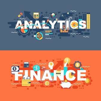 Analytics and finance set of flat concept