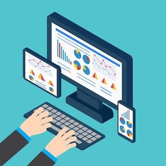 분석 및 프로그래밍 벡터. 웹 애플리케이션 최적화. 반응 형 pc
