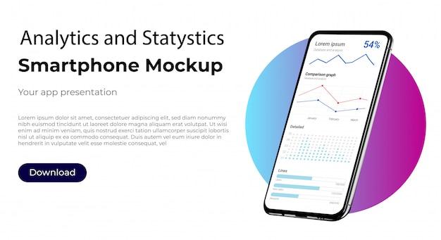 Панель администратора для аналитики и статистики для анализа рынка. экран пользовательского интерфейса пользовательского интерфейса для смартфона