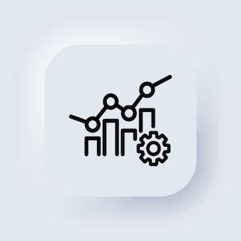 Значок стрелки бизнес аналитики. прогресс продуктивности маркетинга, управление тенденциями рынка прибыли. белая веб-кнопка пользовательского интерфейса neumorphic ui ux. неоморфизм. вектор.