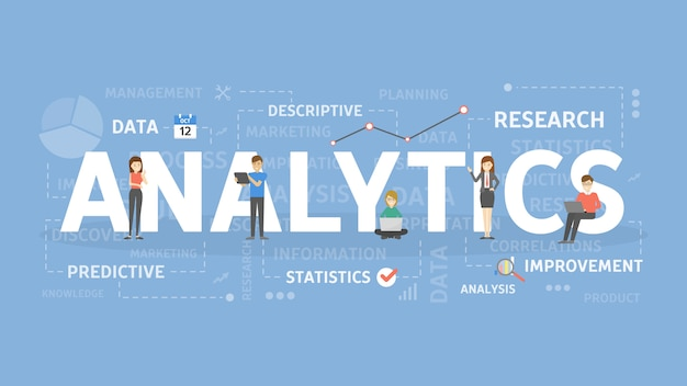 Аналитика концепции иллюстрации. идея анализа, данных и информации.