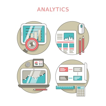 Analytics concept set in thin line style