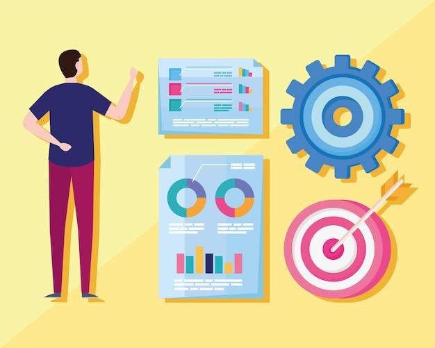 Analytics graphics five icons