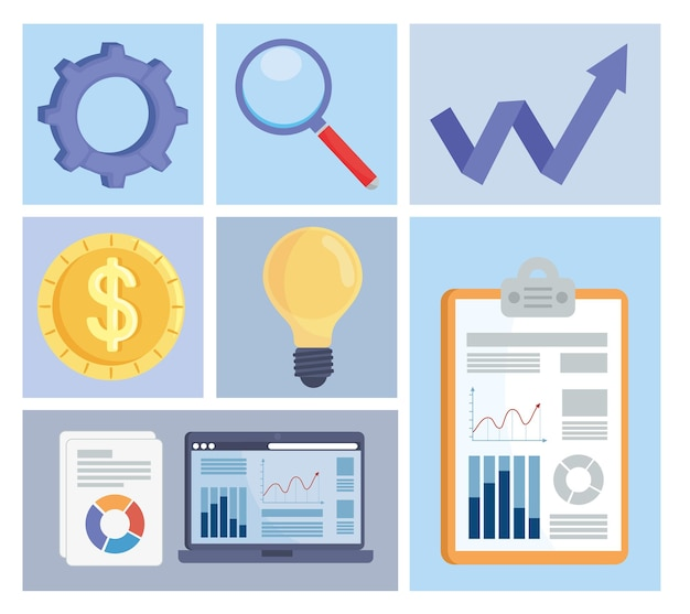 Analytics icons in frames