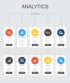 分析インフォグラフィック10ステップuiデザイン。線形グラフ、web調査、トレンド、シンプルなアイコンの監視