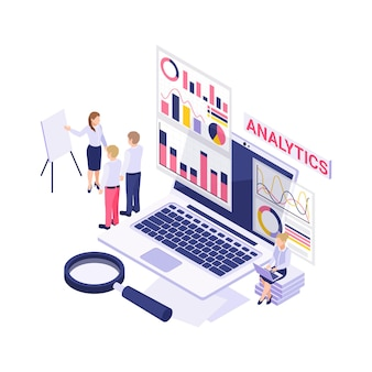 Analytics isometric  with laptop magnifier working people and diagrams 3d  illustration