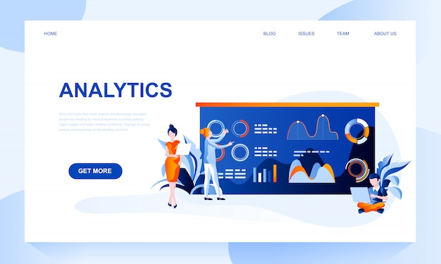 Analytics landing page template with header