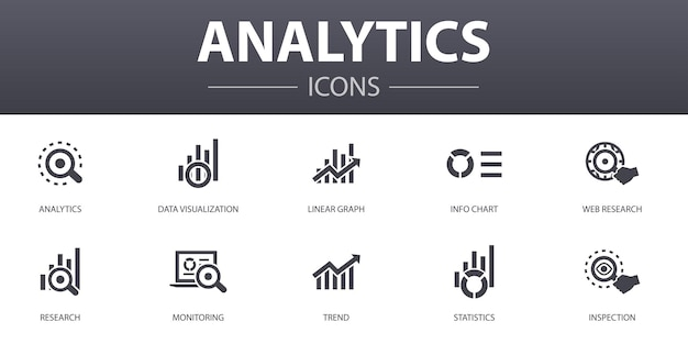 Analytics simple concept icons set. contains such icons as linear graph, web research, trend, monitoring and more, can be used for web, logo, ui/ux