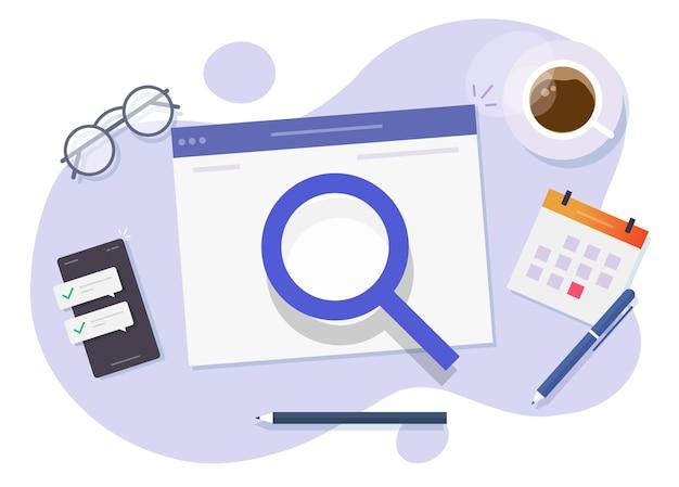 디지털 웹 사이트 정보 개념 평면 만화의 온라인 조사 또는 인터넷 웹 검사 분석