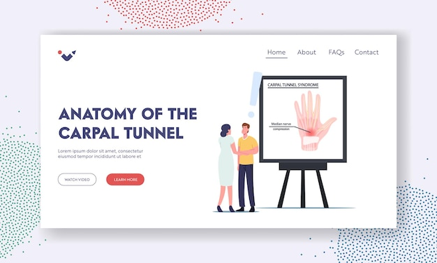 Anatomy of carpal tunnel syndrome landing page template. patient male character visiting doctor in clinic complain on pain in wrist after working on pc in office. cartoon people vector illustration