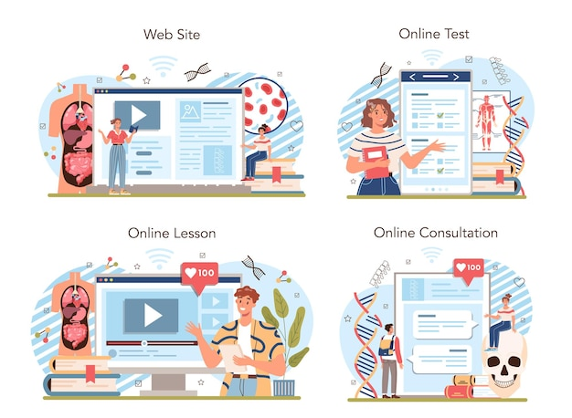 Anatomy school subject online service or platform set. flat vector illustration