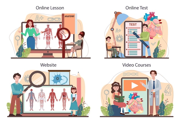 Anatomy school subject online service or platform set. internal human organ studying. anatomy and biology. human body systems. online lesson, test, video course, website. flat vector illustration