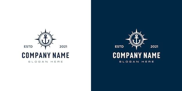 Якорь и компас дизайн логотипа вектор