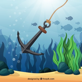 Anchor background with fish
