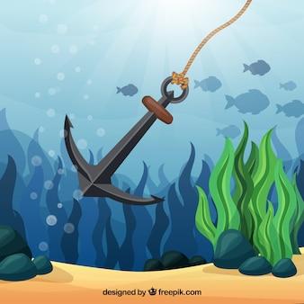 Якорный фон с рыбой