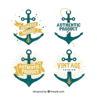 Anchor badge collection in flat style