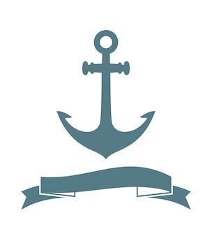 Distintivo di ancoraggio isolato su bianco. illustrazione vettoriale