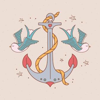 Anchor birds illustration