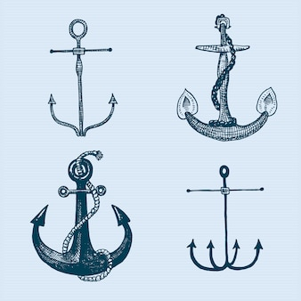 Якорь с гравировкой в старинном стиле или в стиле тату, рисунок для морской, водной или морской тематики, резка по дереву, синий логотип