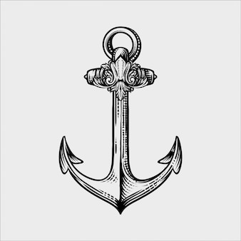 Anchor in graphic style hand-drawn vector illustration