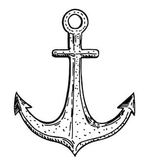 Anchor hand drawing isolated on a white background suitable for tattoos postcard design Premium Vector