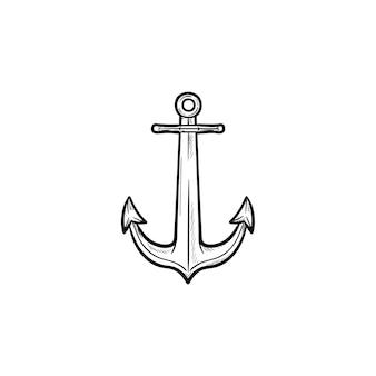 앵커 손으로 그린 개요 낙서 아이콘입니다. 해상 앵커, 보트 및 선박 장비, 안전한 항해 개념