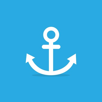 Anchor icon on blue background. vector eps 10