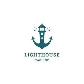 Anchor lighthouse logo. flat style logo .